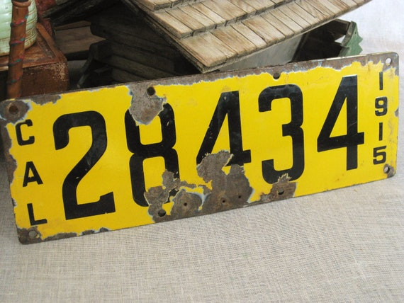 RESERVED - Antique Licences Plate California 1915 - Odd Bits / Assemblage