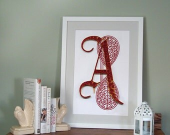 A - Monogram poster, initial Print, Quilled typography poster, Paper art print, 12x18 in, Ready to ship
