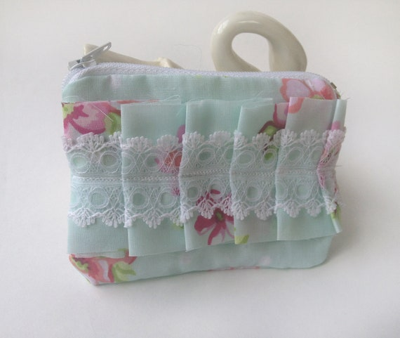 Sea Green Vintage Inspired Floral Fabric Zipper Coin Purse Pouch with a Fabric and Lace Ruffle