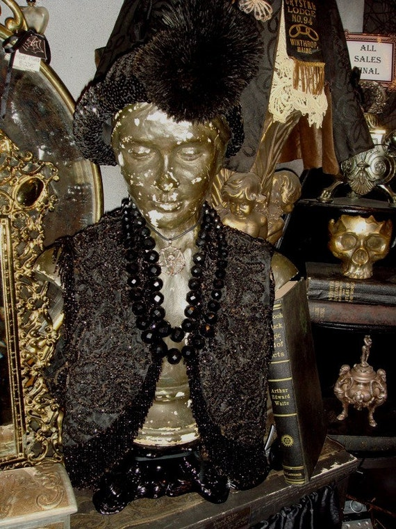REDUCED -Gothic Victorian Jet Beaded Bolero Vest at Gothic Rose Antiques