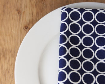 Napkins - Navy with White circles - Set of 4