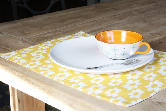 RESERVED for JENNIFER - Fabric Placemats - Yellow Dandelion - Set of 2
