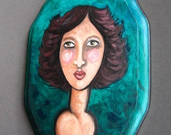 Original Painting - Portrait of a Women with Dark Hair - Small Painting on Wood - Ready To Hang