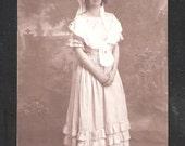 100 year old Social History Postcard British Edwardian period dress bonnet fashion antique vintage postcards