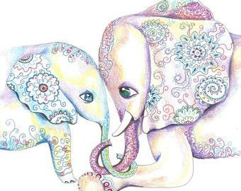 Large size  Mommy and Baby Elephant Nursery Art