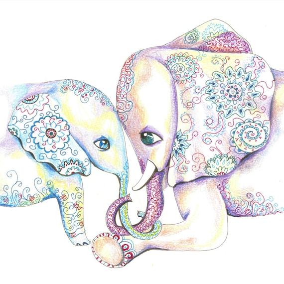 Mommy and Baby Elephant Nursery Art by AAstudio on Etsy
