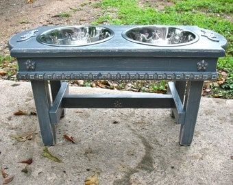 Antique Blue/Gray Distressed Two Bowl Elevated Dog Bowl Pet Feeder For Large Dogs, Raised Pet Feeder, Dog Dish, Made To Order
