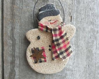 Primitive Snowman Salt Dough Xmas Ornament