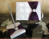 Wedding Guest Book and Pen Set with Swarovski Crystals - Custom Made to Order