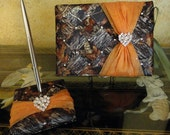 Mossy Oak Wedding Guest Book and Pen Set with Swarovski Crystals - Custom Made to Order