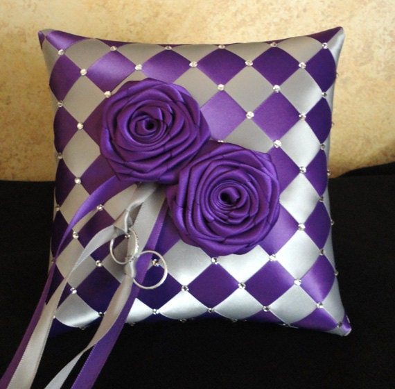 Wedding Ring Bearer Pillow Silver Purple Or Custom Made To