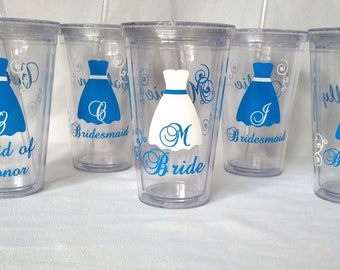 Bride and Bridesmaids Tumblers, 5 wedding party acrylic glasses with lid and straw, flower girl plastic cups, Bridesmaid gift. BPA Free