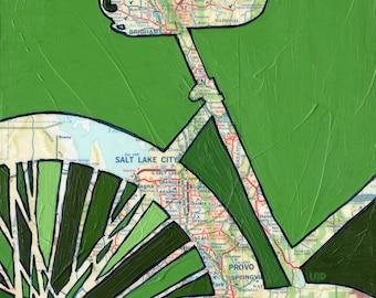 Bike Salt Lake City print -  Salt Lake City, Provo, Brigham, Utah - bike art