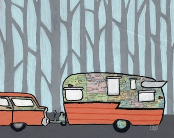 Shasta Camper-print of retro camper with vintage map of southeast