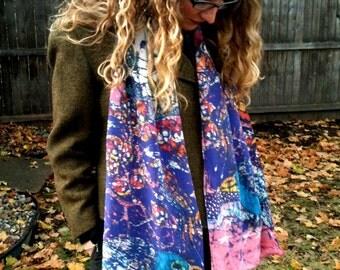 batik - Silk scarf -  very large - Magical Birds - custom printed scarf from original batik