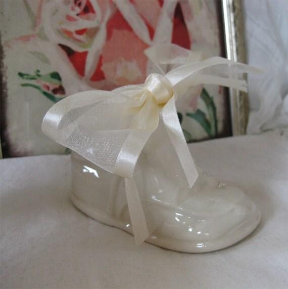 White Baby Shoe Planter - Vintage