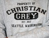 Property of Christian Grey -  Athletic Heather Grey Hoodie Size Small, Medium, Large, XL