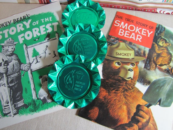 Vintage Smokey the Bear Collectibles - Comic, Activity Book, Aluminum Ashtrays