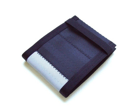 Seatbelt Wallet in Black and Silver with Elastic Band