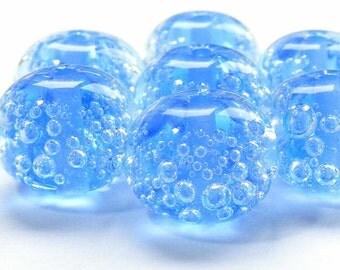 Handmade lampwork beads set of 7 light blue bubble beads