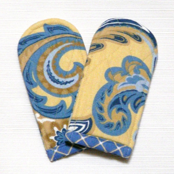 Pot Handle Covers Blue Yellow Paisley French Country