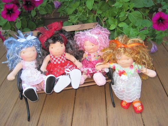 """Waldorf doll clothes for small 9-12"""" doll...vintage button"""