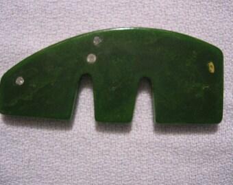 Vintage creamed Spinach Bakelite Rhinestone Figural Dog Piece