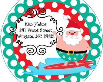 Return Address Labels - Surfin Santa