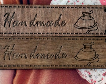 IRON - Zakka Dark Brown Wood Wooden Handmade Bag Cloth Label Tags 2's -