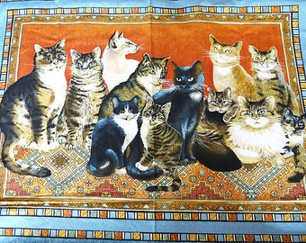"""Ivory Cats - Lesley Anne Ivory for Springs Industries - 100% Cotton Fabric - 1 Panel - 90cm x 110cm (35.4"""" x 43"""")"""