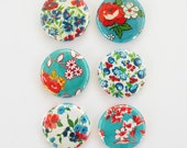 Vintage Fabric in Teal - Set of 6 Flair Buttons