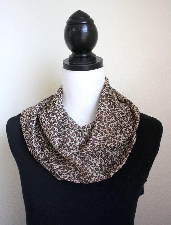 Handmade Brown Cheetah Print Infinity Scarf