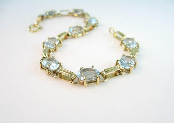 RESERVED FOR K // Aquamarine 14K Gold Bracelet Sky Blue Nine Oval Cut Gemstones Vintage Art Deco Style