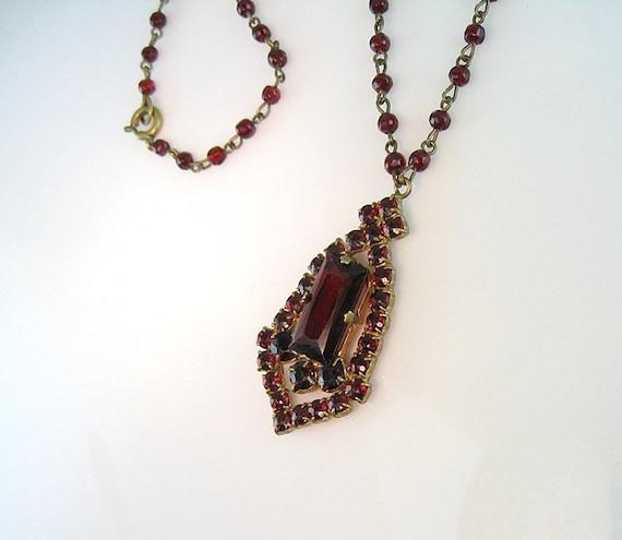 Vintage Bohemian Garnet Glass Necklace Victorian Revival Czech 1930s Jewelry