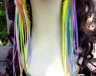 Feather Earrings Long Summer Rainbow, Very Long Bright Feather Earings, Festival Feather Jewelry