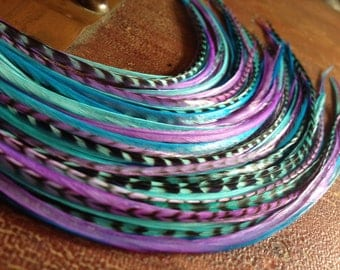 Colorful Hair Feather Extensions Purple Blue Grizzly, 5 Long Bonded Hair Plume Bundle Feather Hair Extension Sale/1 Bundle