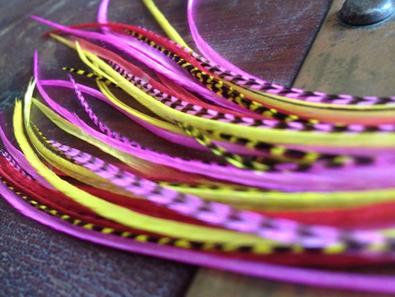 Long Feather Hair Extensions Bright Pink Yellow Grizzly Girly Acessories, Bonded Hair Feather Extension Kit with Threader, Rave Feathers
