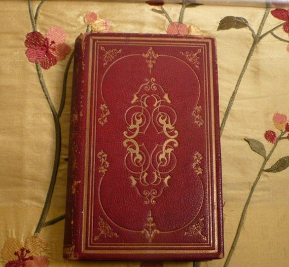 Antique 19th century Small Book Tales from Shakespeare by Lamb 1855 Red leather gold decoration