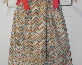 Chevron Stripe Holly Berry Pillowcase Dress or Twirl Skirt