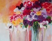 """Original Acrylic Painting, Abstract Flowers, 12x16"""""""