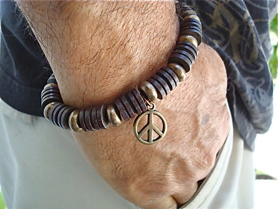 Men's Dark Brown Wood and Brass Peace and Love Bracelet