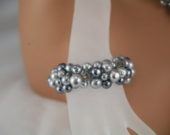 Gray multi colored cluster bracelet silver chain-  bridesmaids bracelet, wedding jewelry, bridal party jewelry