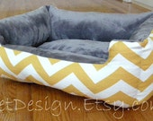 """One-Piece 24"""" x 19""""  - Dog Bed - Cat Bed - Yellow & White Chevron with Gray Minky Fleece"""