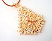 Bead embroidered pendant, Peach necklace, seed bead necklace, beadwork necklace, beaded pendant, beaded jewelry