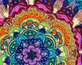 Microcosm Mandala Print  (Psychedelic Rainbow Spiritual Colorful Symbolic Starbust in Copic Marker and Ink)