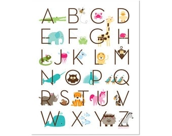 Modern Animal Alphabet Poster - Zoo Friends Tickle Me Pink