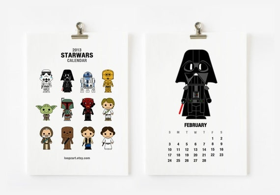 2013 Calendar Cute Star wars 5x7