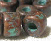 Mykonos Beads Ceramic Metalized Mini Tube Beads Bronze with Patina 6mm x 4mm 10 pieces