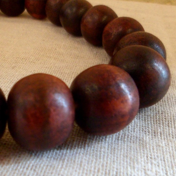 Wood Beads - Sono Wood LARGE Round Beads 21mm Wooden Beads Full Strand