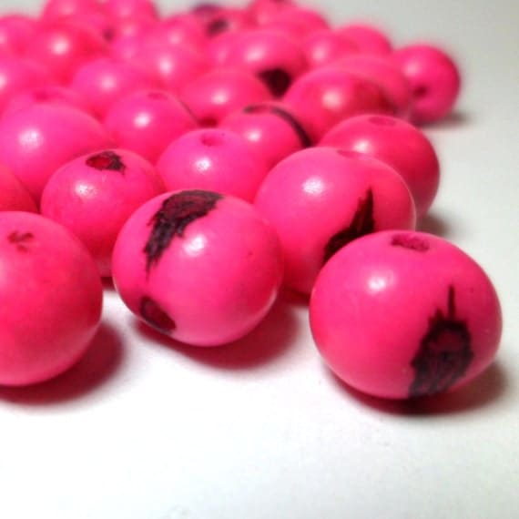 Acai Beads - Natural Seed Beads Hot Neon Pink 30 Pieces